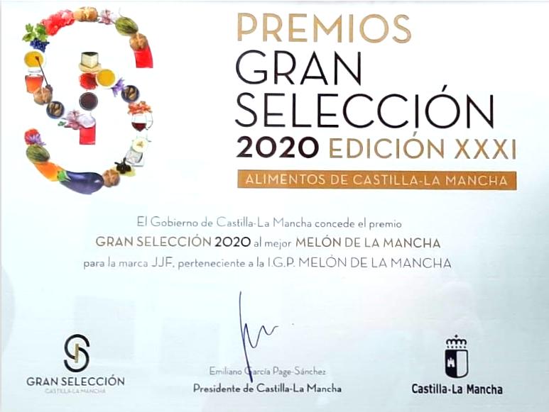 Agricola JJF wins the Gran Selección 2020 award of Melon of la Mancha.